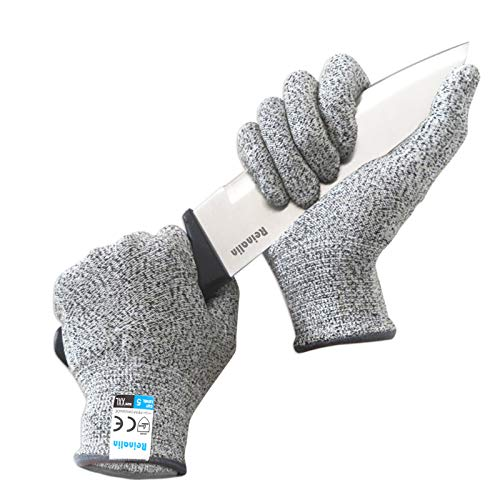 Reinalin Schnittschutzhandschuhe mit High Performance Level 5 Schutz, Lebensmittelsicherheit, Arbeitshandschuhe für die Küche, Mandolinenschneiden, Fleischschneiden und Holzschnitzen (XXL)