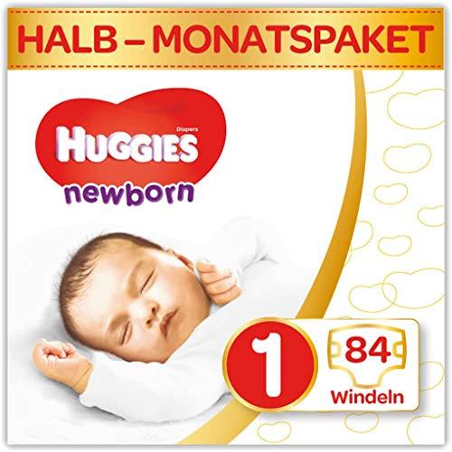 Huggies Newborn Baby Windeln Größe 1, 2 bis 5 kg, Für Neugeborene, Mit Nässeindikator, 84 Windeln, Monatsbox