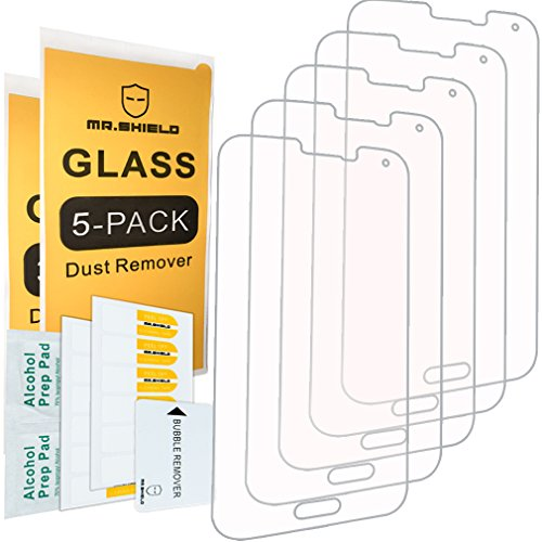 [5-PACK]- Mr.Shield Designed For Samsung Galaxy S5 [Tempered Glass] Screen Protector [0.3mm Ultra Thin 9H Hardness 2.5D Round Edge] with Lifetime Replacement