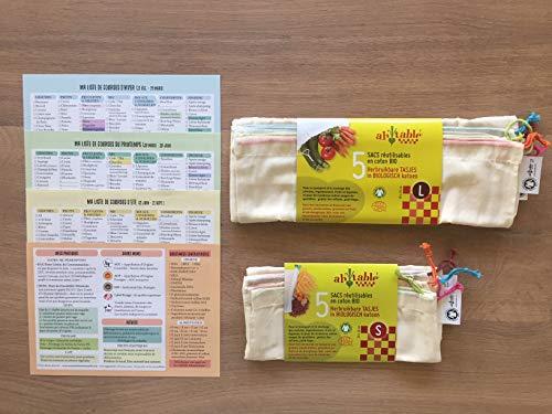 Lots Sacs à Vrac Réutilisables en Coton Bio (5 x Fruits et Légumes + 5 x Céréales) Ultra Légers Lavables en Machine + 52 Listes de Courses France