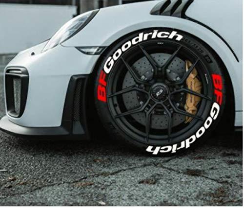 Bf Goodrich - Pegatinas permanentes para neumáticos de goma de 1 pulgada para ruedas de 14 a 22 pulgadas (8 unidades)