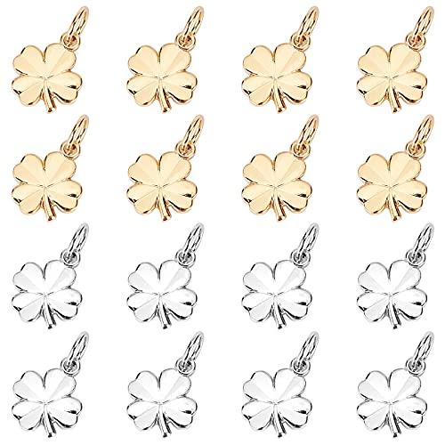 Benecreat - 28 colgantes chapados en oro, diseño de trébol de cuatro hojas, chapado en platino con buena suerte, 11 x 9 x 1 mm para joyas, pulsera y proyectos de bricolaje
