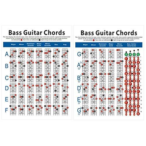 EXCEART Bass Chord Chart Guitar Poster 4 Cordes Électrique Basse Doigté Exercice Diagramme pour Basse Guitare Instrument de Musique Pratique Accessoires (Grande Taille)