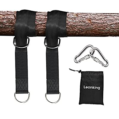 Leanking 2 PCS Tree Swing Straps Tree Swing Hanging Kit Holds Max 2000 LB with Two Heavy Duty Carabiners (Stainless Steel) for Swing Seat, Plank, Camping Hammock (10ft)