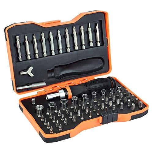 Juego de destornilladores, 76 piezas, con llave de carraca reversible de 1/4 pulgadas y llave de vaso hexagonal de 1/4 pulgadas.