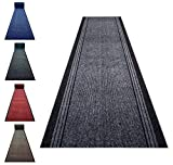 Carpet Runner Black Rubber Backed Non-Slip Very Long Heavy Duty Hallway Hall Narrow Rugs Custom Length - Sold and Priced Per Foot (Grey (25), 2ft2' x 5ft)