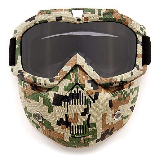 SPOSUNE Motorradbrille Abnehmbare Gesichtsmaske, ATV Dirt Bike Motocross MX Riding Paintball Brille staubgeschützt UV400 Brille mit weichem Schaumstoff, verstellbarer Riemen für Männer und Frauen