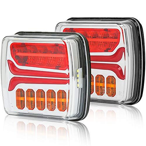 AGRISHOP Kit Luces Traseras Para Remolque Coches Led 12/24v2Pcs ,4Funciones Pilotos Luces Traseras Remolque Led Homologado,Led Luz de Atrás Freno Indicadora Dinámica,Impermeable E-mark