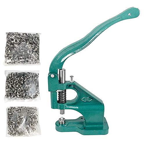 QWORK Hand Press Heavy Duty Eyelet Grommet Machine Punch Tool Kit with 3 Dies and 1500 Pcs Silver Grommets