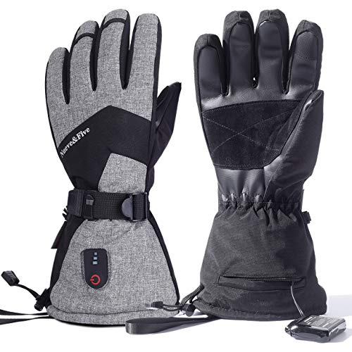 Nueve&Five Heated Gloves for Men and Women,Rechargeable Battery Operated Electric Hands Warmer for Motorcycle,Ski,Hunting,Outdoor Work in Cold Winter Water Resistant,Windproof,Touchscreen Enabled