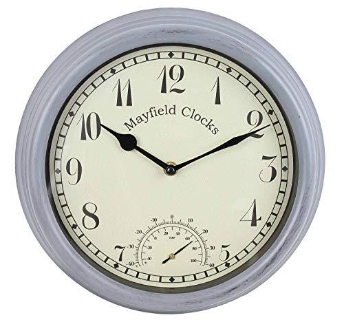 Mayfield Living Wanduhr Küchenuhr Gartenuhr 30cm wetterfest Anthrazit Grau Landhaus Thermometer Innen und Aussen