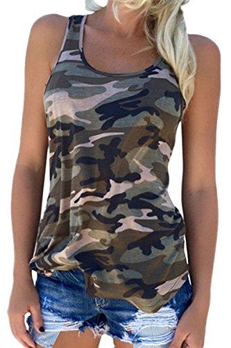 Damen Sommer Bluse Ärmellose Tank Top Shirt Casual Weste Hemdbluse Camouflage T Shirt Green XXL