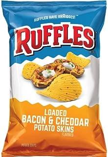 Ruffles Ridged Potato Chips, Loaded Bacon/Cheddar Potato Skins, 8.5 Ounce