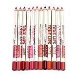 Joyjorya Matite per contorno labbra professionali, 12colori, impermeabili, con tappo di ...