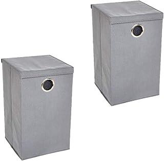 Amazon Basics Lot de 2 paniers à linge à un compartiment avec couvercle magnétique - Gris