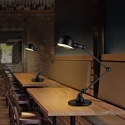 RGF Manipulador De Viento Industrial Retro De Doble Sección E14 Lámpara De Escritorio Dormitorio Dormitorio Lámpara De Cabecera Lámpara Giratoria Conjunto Mesa Lámpara De Mesa Lámpara De Mesa Negro