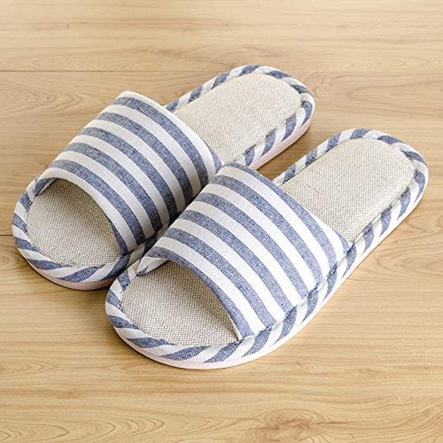 SWX-FlipFlop Zapatillas de casa Ropa de Cama Japonesa para Hombres Pareja de Verano Fondo Grueso Mujeres Embarazadas Tela Antideslizante otoño e Invierno Azul Oscuro 44/45 (código Positivo)