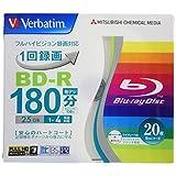 Verbatim バーベイタム 1回録画用 ブルーレイディスク BD-R 25GB 20枚 ホワイトプリンタブル 片面1層 1-4倍速 VBR130YP20V1