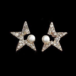 Girl Silver Needle Stud Earrings Personality Temperament Wild Diamond Star Pearl Earrings Fashion Ear Ornaments Jinlyp (Color : Golden Five)