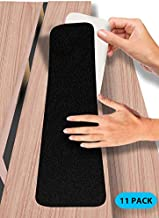 6 in.x 30 in. Stair Treads Non-Slip Outdoor Tape – (11 Pack) Outdoor Stair Treads – Black Pre-Cut Anti-Slip Tape with Easy Separating 3-Layer Design