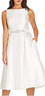 Embellished-Belt Fit Flare Dress Ivory 8