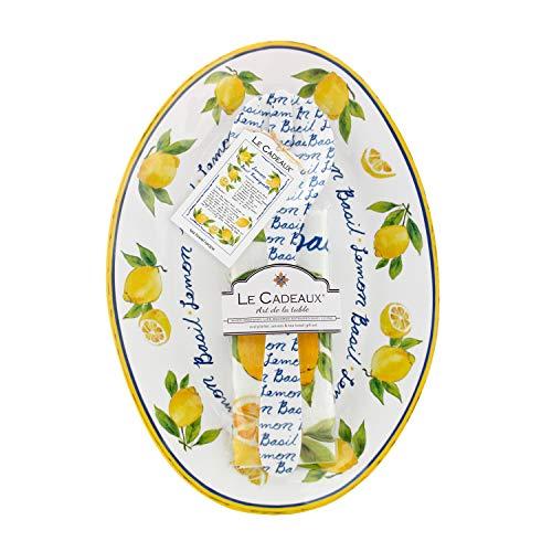 Le Cadeaux Palermo Lemon Basil Oval Platter, Salad Servers And Tea Towel Set