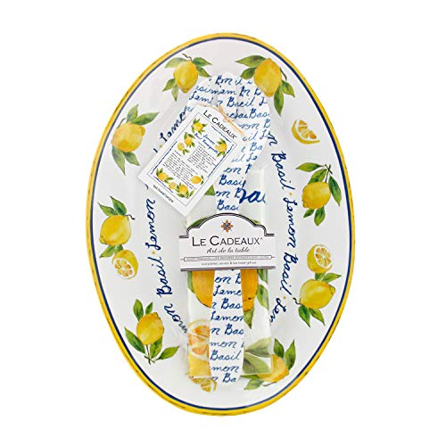 Le Cadeaux Palermo Lemon Basil Oval Platter, Salad Servers And Tea Towel Set