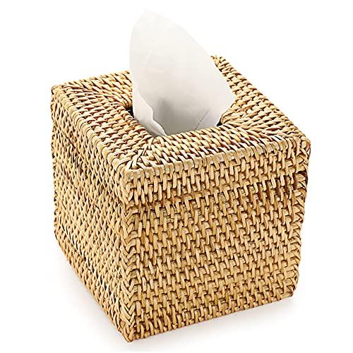 SUMTree Scatola per fazzoletti di carta in rattan intrecciato a mano, per il soggiorno e la sala da pranzo, ufficio (quadrato, grande)