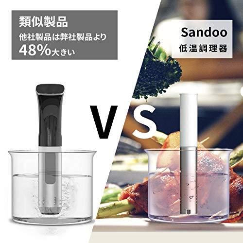 Sandoo低温調理器スロークッカー真空調理器精密温度制御IPX7防水ステンレス製低音調理お料理用日本語取扱説明書とレシピ付きホワイトHA1099