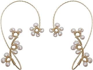 DOTU Pearl Leaf Earrings, Sparkling Imitation Pearl Crystal Leaf Earrings, Hanging Ear Hook Ear Cuffs Climber No Piercing ...