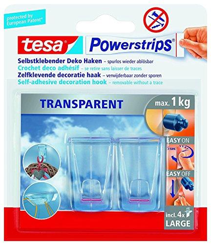 tesa Powerstrips Pack de 2 crochets déco adhésifs transparents et 4 languettes Taille large Pour max. 1 kg 10 Packungen transparent