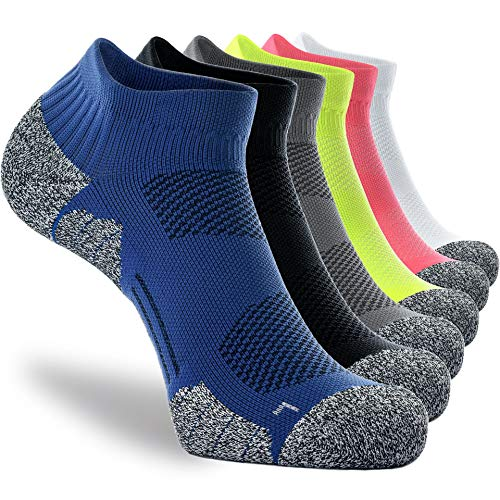 CWVLC Unisex Cushioned Compression Athletic Ankle Socks Multipack, 6-pairs Mix Colors, M (7.5-10 W US/ 6-8.5 M US)