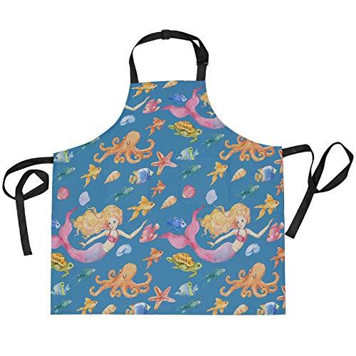 ADMustwin Delantales para mujeres y hombres, diseño de sirena, animal y pez, pulpo ajustable, delantal de cocina con 2 bolsillos, 27.5 x 29 pulgadas