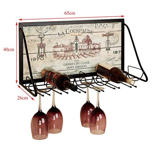 XiuHUa Wijnrek-Europese retro smeedijzeren muur opknoping wijnrek, wijnkast, wijnkast wandkast wijnrek (grootte 65CMX26CMX40CM) Wijnvitrine vitrine