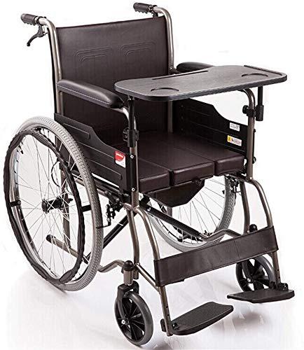 XDHN rolstoel rolstoel opvouwbare massief rubberen banden zachte zitting met eettafel volledig stalen buisversterking, oude rolstoel