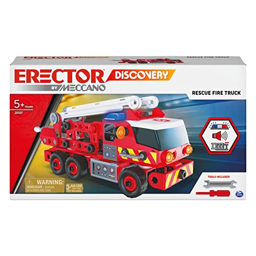 Meccano Erector Discovery, Rescue Fire Truck with Lights and Sounds STEAM Building Kit, for Kids Aged 5 and up