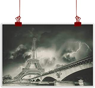 Sunset glow Outdoor Nature Inspiration Poster Wilderness Eiffel Tower,Eiffel Tower with Winter Tree Historical Architecture European Romantic Scene,Black White for Bathroom Bedroom Pictures