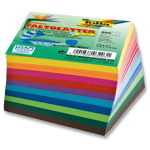 Folia Bringmann Faltblätter 70 g/m² - 500 Blatt in 10 verschiedenen Farben, 7,5 x 7,5 x 7,5 cm