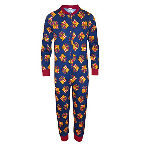 FC Barcelona - Pijama de una pieza para niños - Producto oficial - 7-8 años