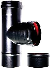 CHIMENEA apropiado caldera tee 90° fm-f para estufa de pellets o de madera tubo de acero esmaltado en negro 600 grados ce fabricado en Italia