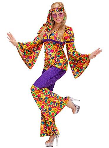 Karneval-Klamotten Hippie Kostüm Damen Flower-Power Kostüm Karneval 60er 70er Jahre Oberteil inkl. Schlaghose Damenkostüm