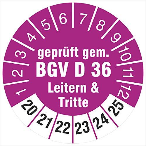 50 Prüfplaketten 30 mm geprüft gem. BGV D 36 Leitern & Tritte 2020-2025 Prüfetiketten
