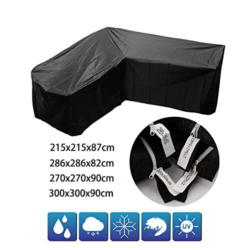 SWL-seller Waterproof L Shape Furniture Cover Outdoor Garden Rattan Corner Sofa Protective (270x270x90cm)