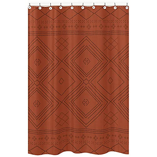 KB & Me Boho Bohemian Tribal Black and Orange Rustic Geometric Decorative Bathroom Fabric Bath Shower Curtain 72x72 Aztec Patterned Urban Southwestern Indian Retro Farmhouse Room Decor Showercurtain