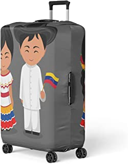 Semtomn Luggage Cover Venezuelans in National Dress Flag Man and Woman Traditional Travel Suitcase Cover Protector Baggage Case Fits 26-28 Inch