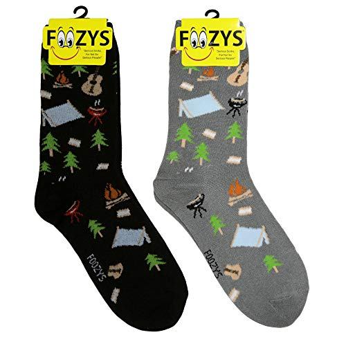 Foozys Women's Crew Socks | Fun And Cute Camping Outdoors Themed Novelty Socks | 2 Pairs Included in Two Colors