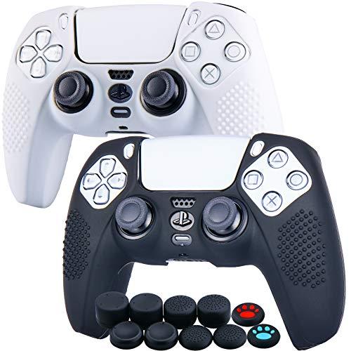 YoRHa Tachonado Silicona Caso Piel Fundas Protectores Cubierta para Sony PS5 Dualsense Mando x 2 (Blanco + Negro) con Pro los puños Pulgar Thumb gripsx 8