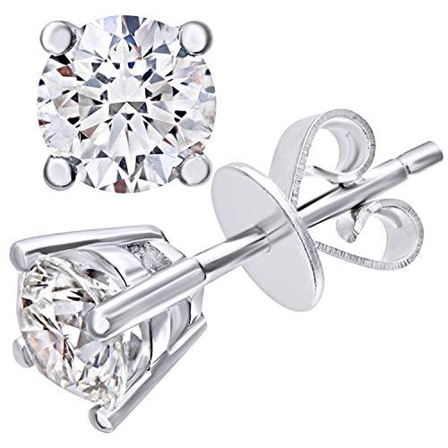 Naava Pendientes para Mujer de Oro Blanco 9K con Diamante