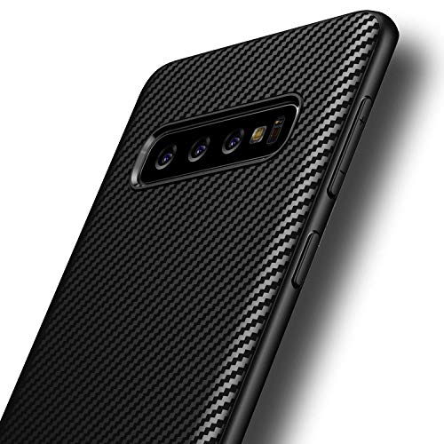 AVANA Hülle für Samsung Galaxy S10 Schutzhülle Flexibles Slim Case Schwarz Schutz Silikon TPU Schale Kratzfest Kohlefaser Handyhülle Bumper Cover Carbon Optik
