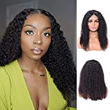 Short Curly Human Hair Deep Wave 4x4 Lace Front Wigs Human Hair Curly Wigs for Black Women150% Density Pre Plucked with Baby Hair natural color14'